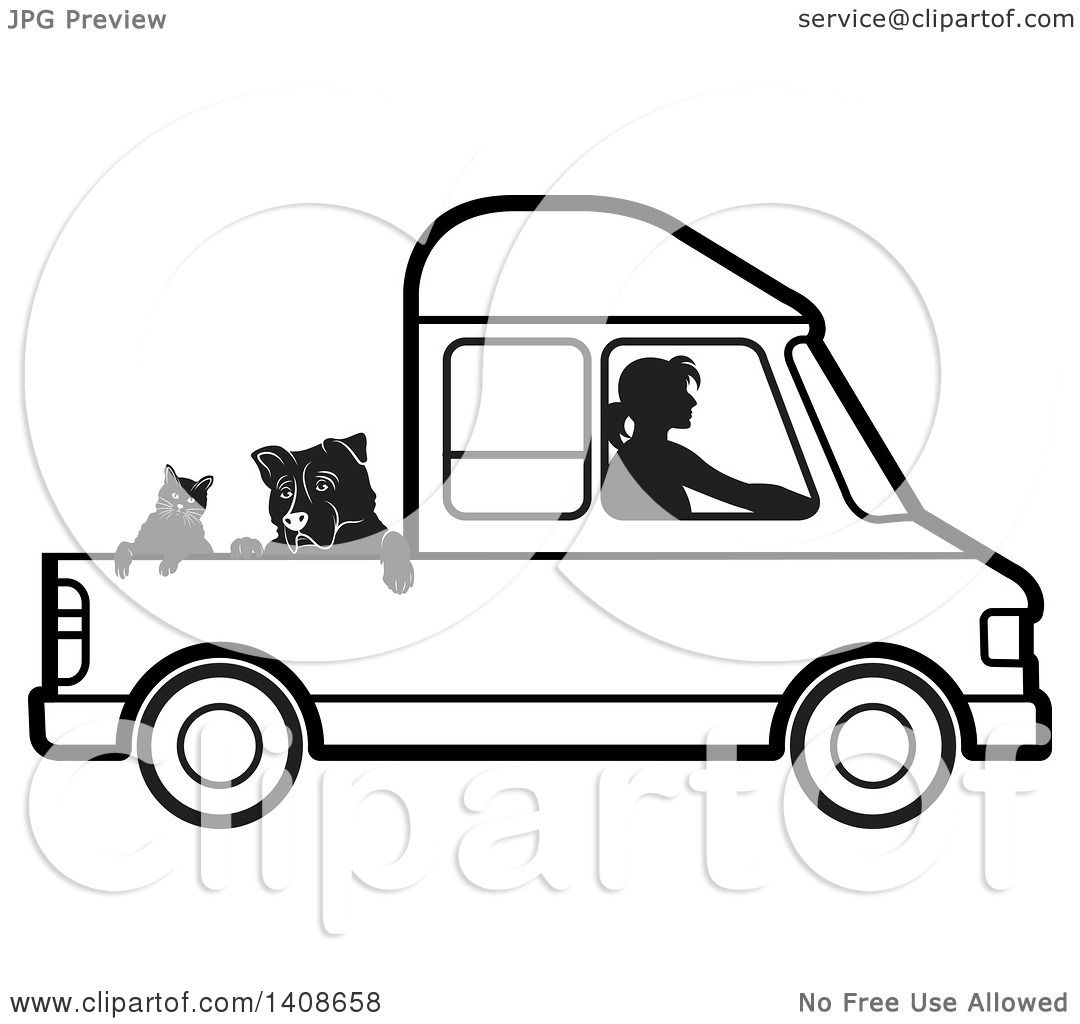 Clipart Of A Black And White Silhouetted Woman Driving