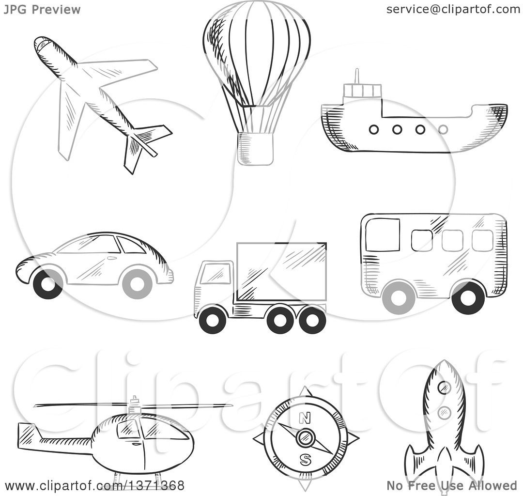 Clipart of a Black and White Sketched Airplane, Hot Air