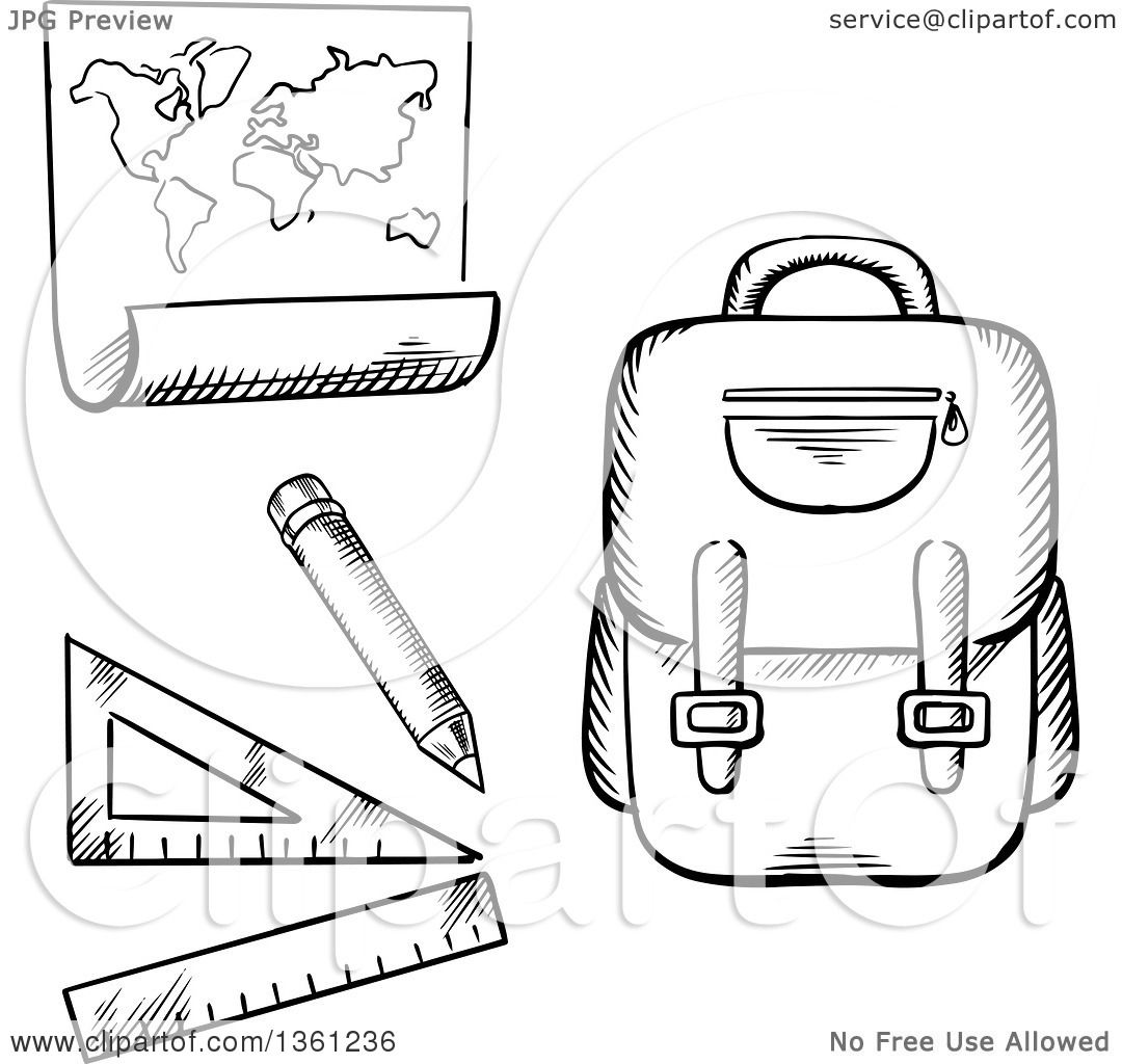 Clipart Of A Black And White Sketched Backpack Ruler And