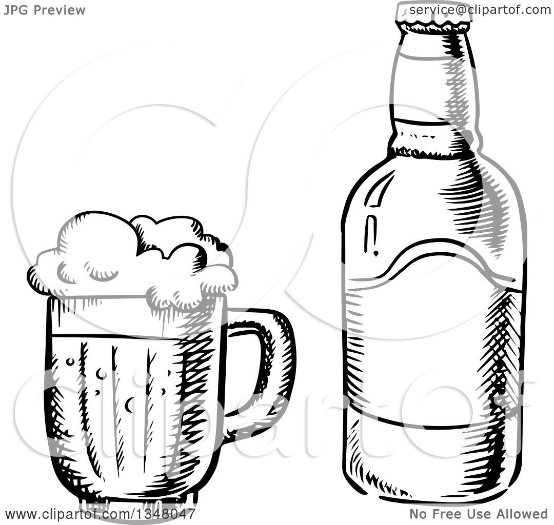 Clipart Of A Black And White Sketched Beer Mug And Bottle