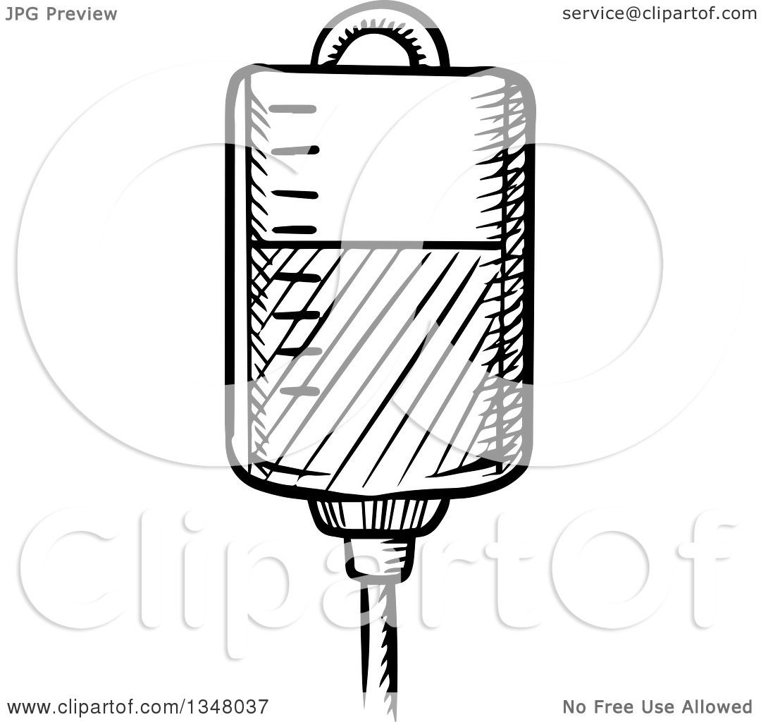 Clipart of a Black and White Sketched Blood Transfusion or
