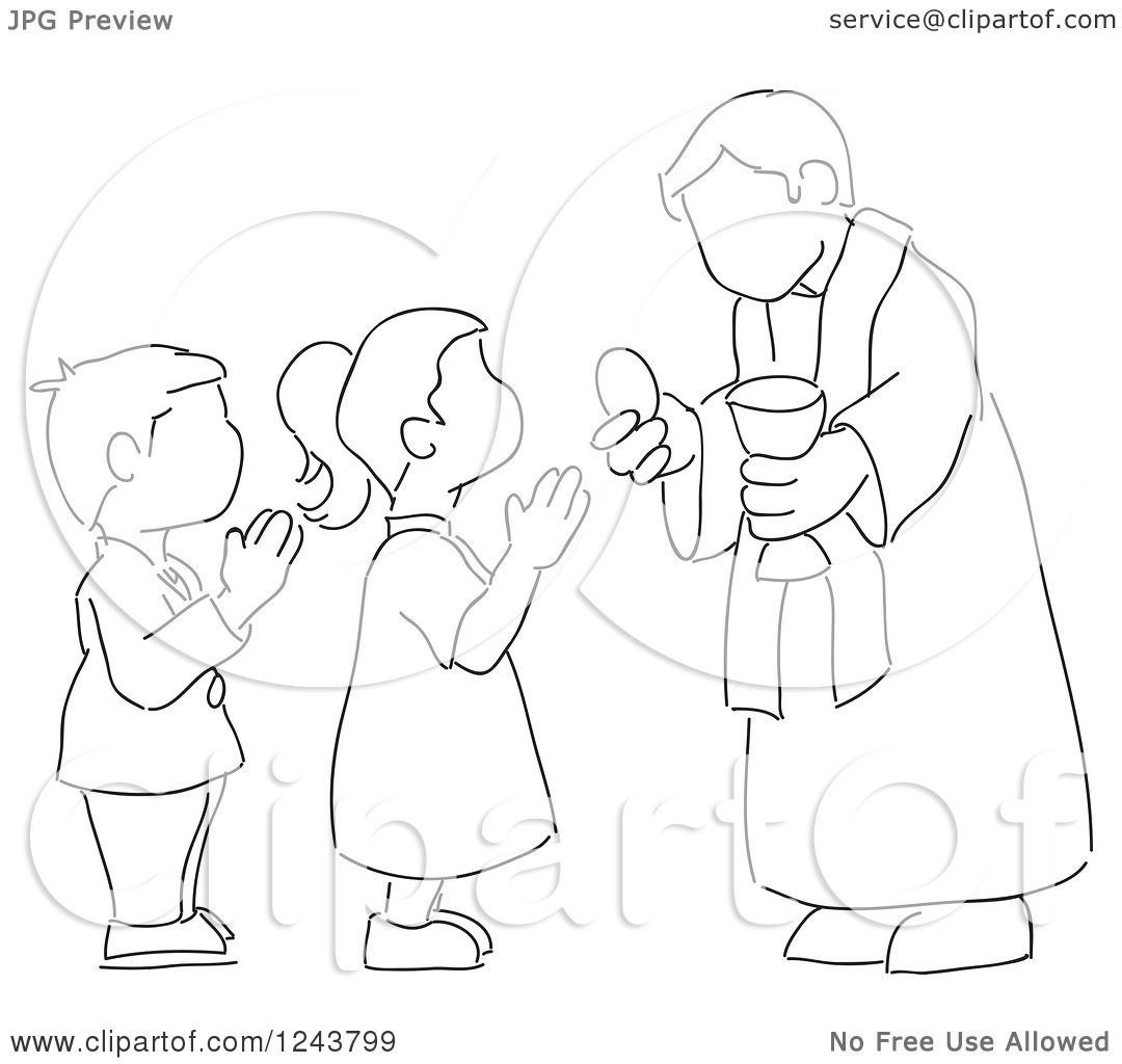 Clipart Of A Black And White Sketched Boy And Girl At