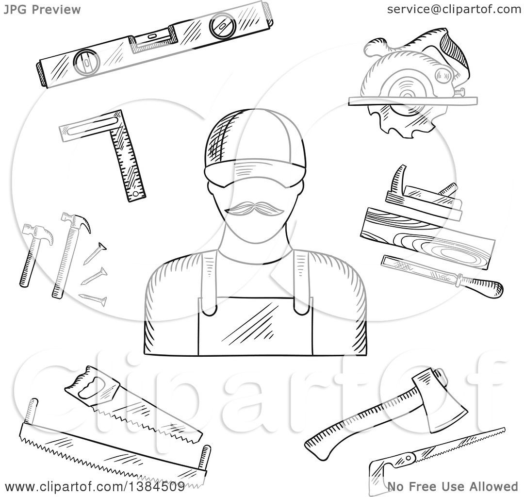Clipart Of A Black And White Sketched Carpenter And Tools