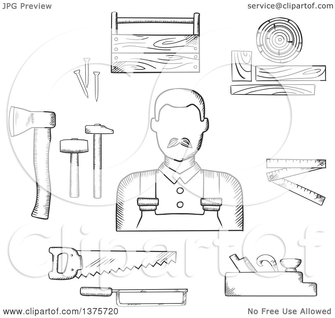 Clipart of a Black and White Sketched Carpenter with Tools