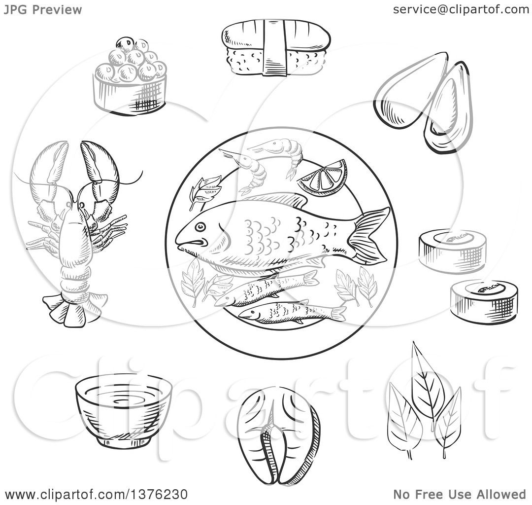 Clipart Of A Black And White Sketched Caviar Sushi