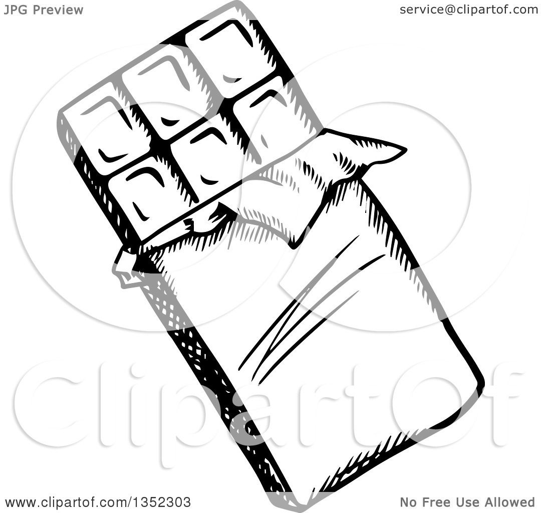 Clipart of a Black and White Sketched Chocolate Candy Bar