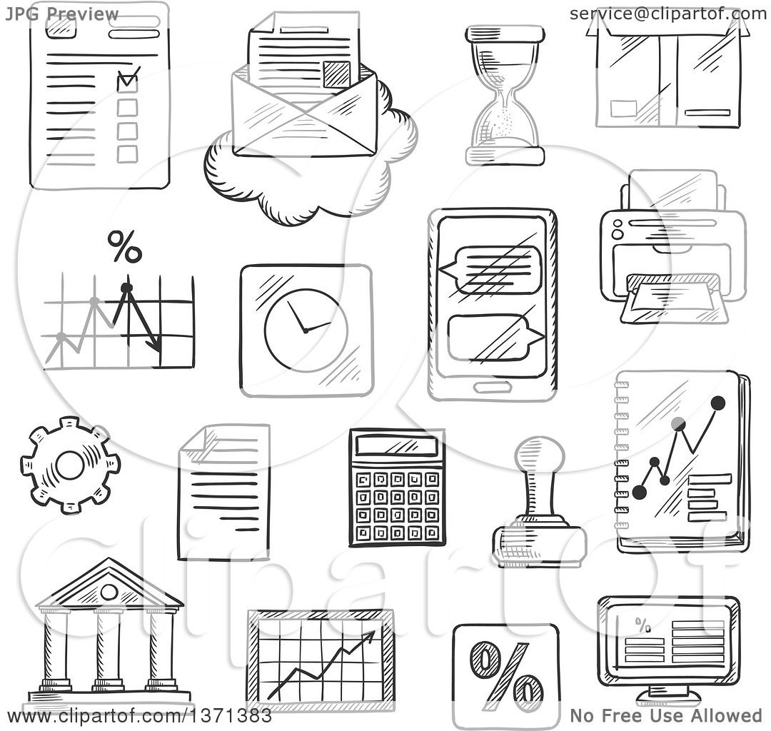 Clipart Of A Black And White Sketched Computer Report