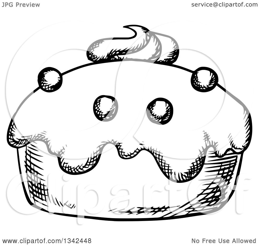 Clipart Of A Black And White Sketched Cupcake