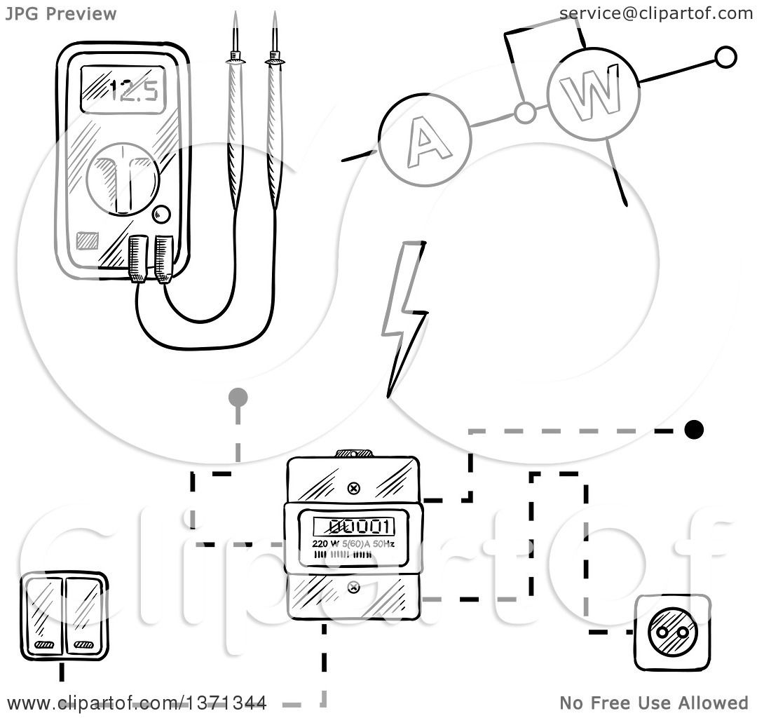 Clipart of a Black and White Sketched Digital Voltmeter