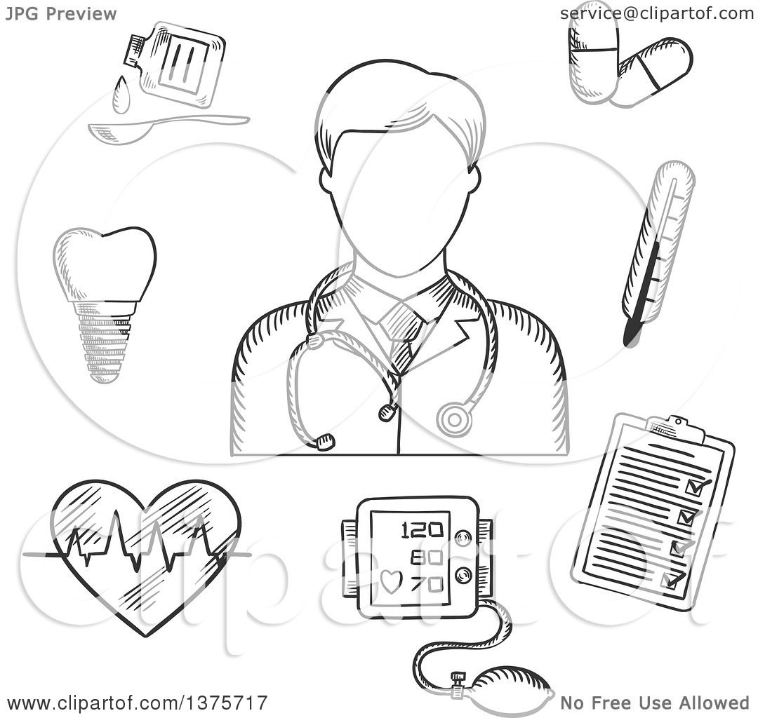 Clipart Of A Black And White Sketched Doctor Thermometer