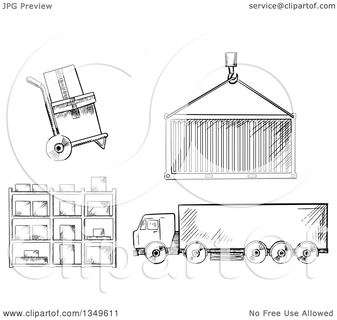 Clipart of a Black and White Sketched Dolly with Boxes