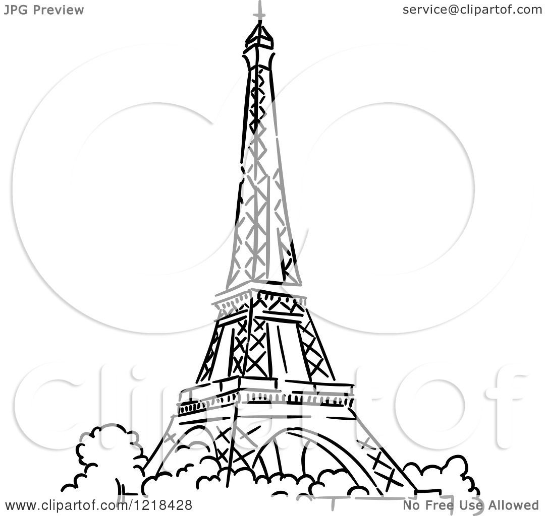 Clipart Of A Black And White Sketched Eiffel Tower 2