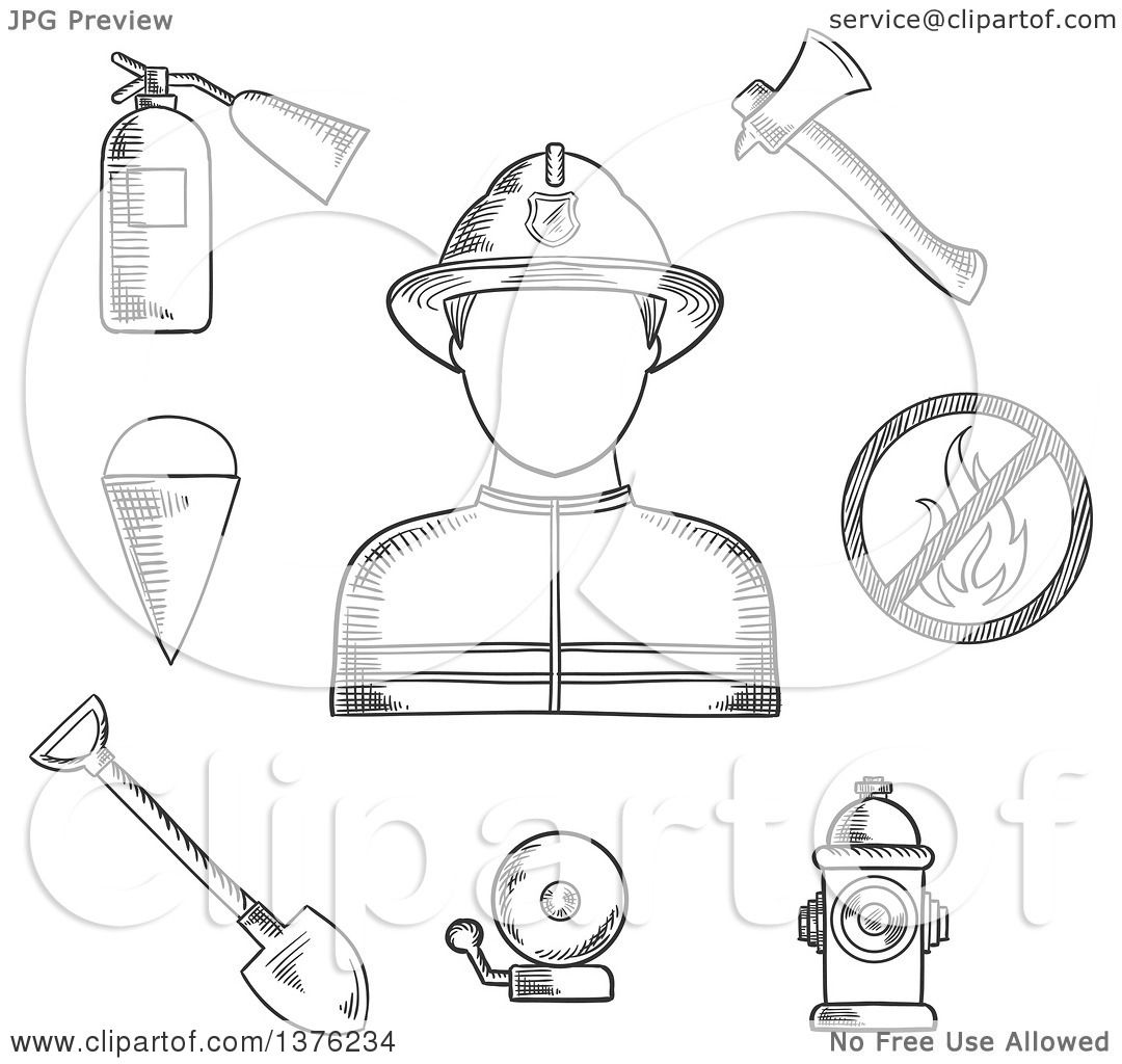 Clipart Of A Black And White Sketched Fireman Flanked By