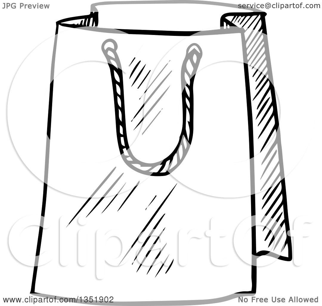 Clipart Of A Black And White Sketched T Or Shopping Bag