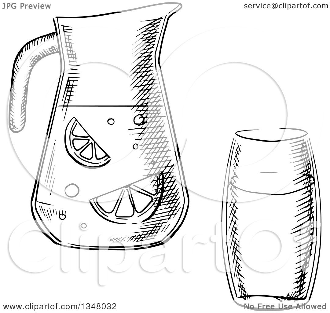 Clipart Of A Black And White Sketched Glass And Pitcher Of