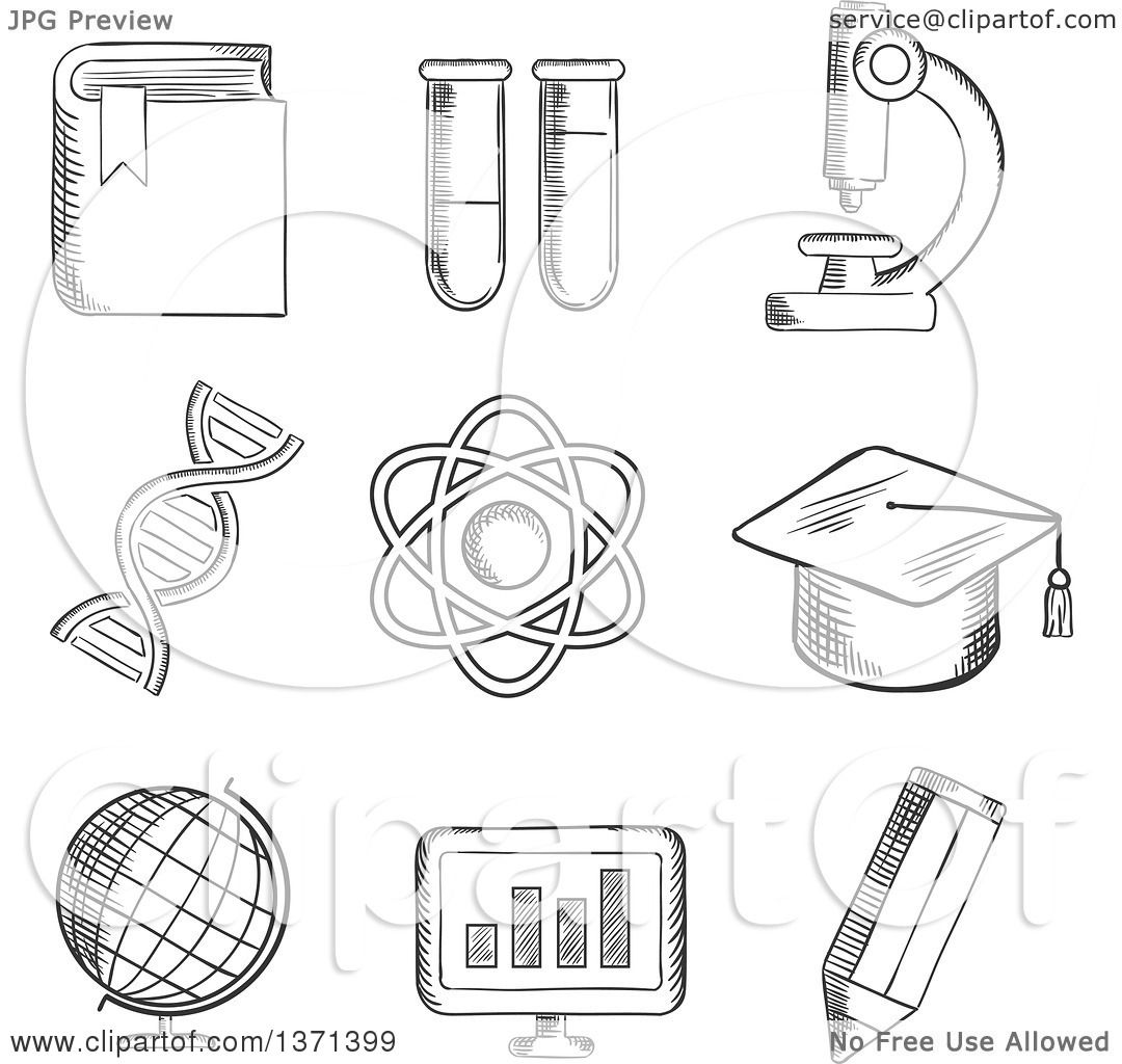 Clipart Of A Black And White Sketched Globe Dna Atom Book Flasks And Tubes Microscope