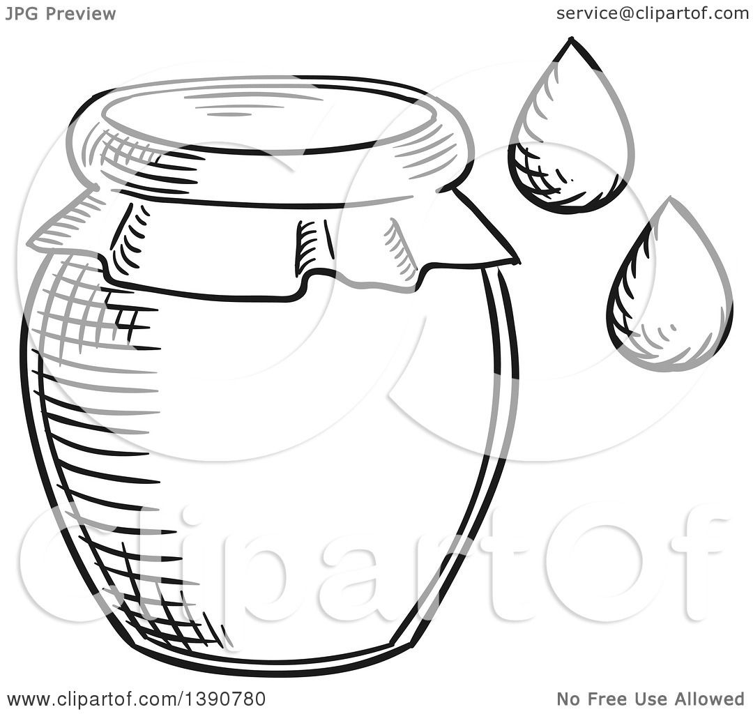 Clipart Of A Black And White Sketched Honey Jar And Drops