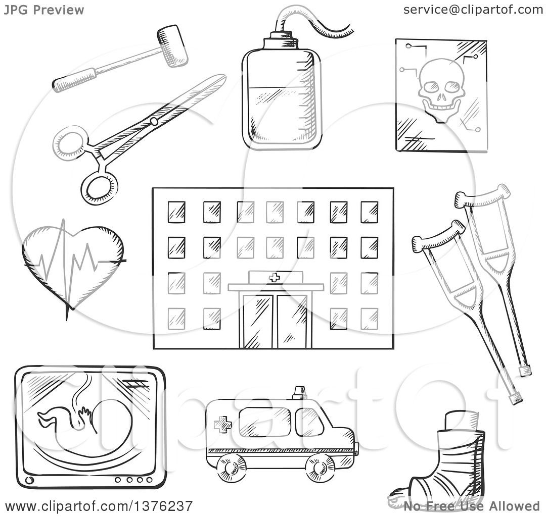 Clipart of a Black and White Sketched Hospital Building