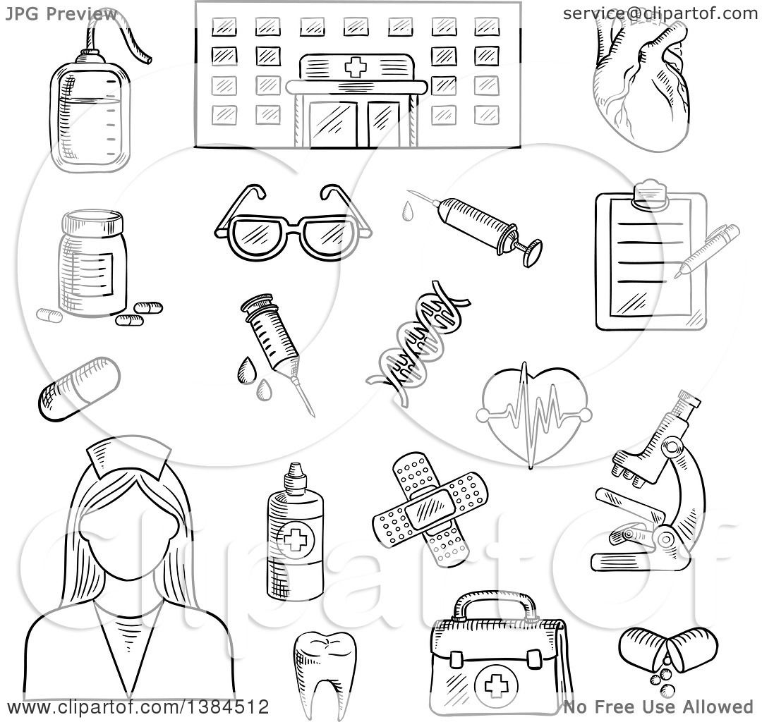 Clipart of a Black and White Sketched Hospital, Nurse and