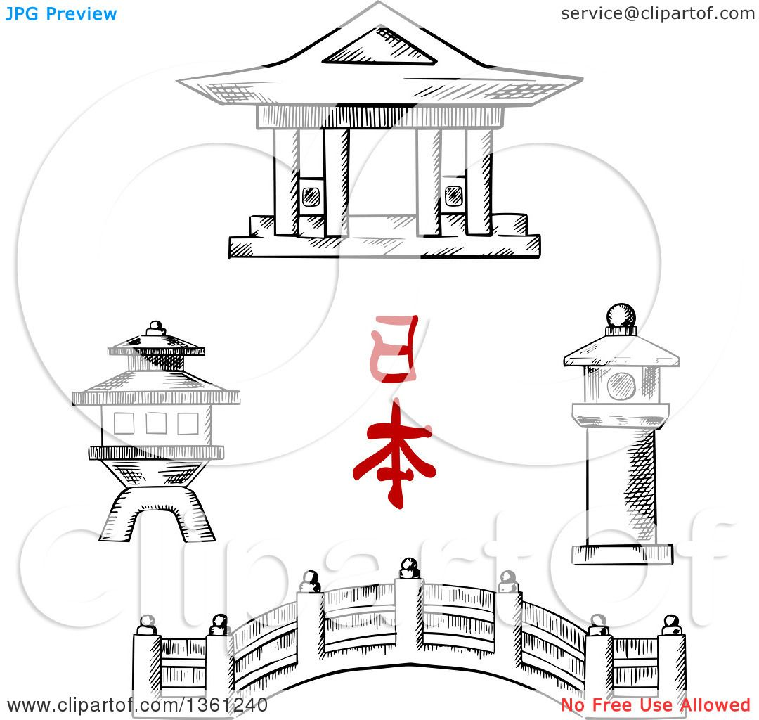 Clipart of a Black and White Sketched Japanese Bridge