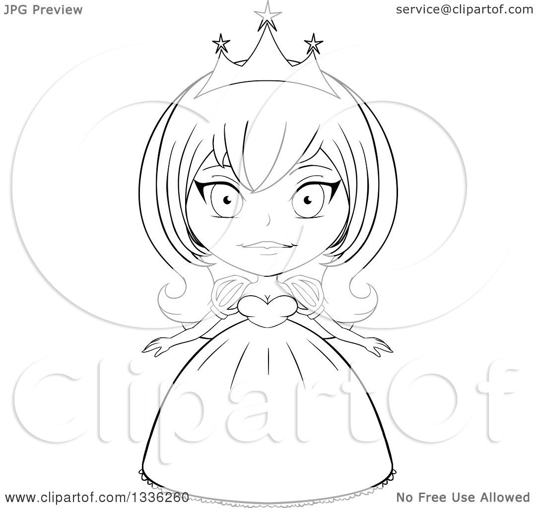 Clipart Of A Black And White Sketched Princess 5