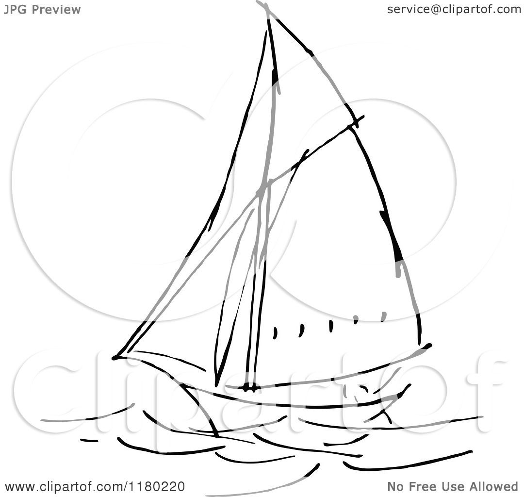Clipart Of A Black And White Sketched Sailboat