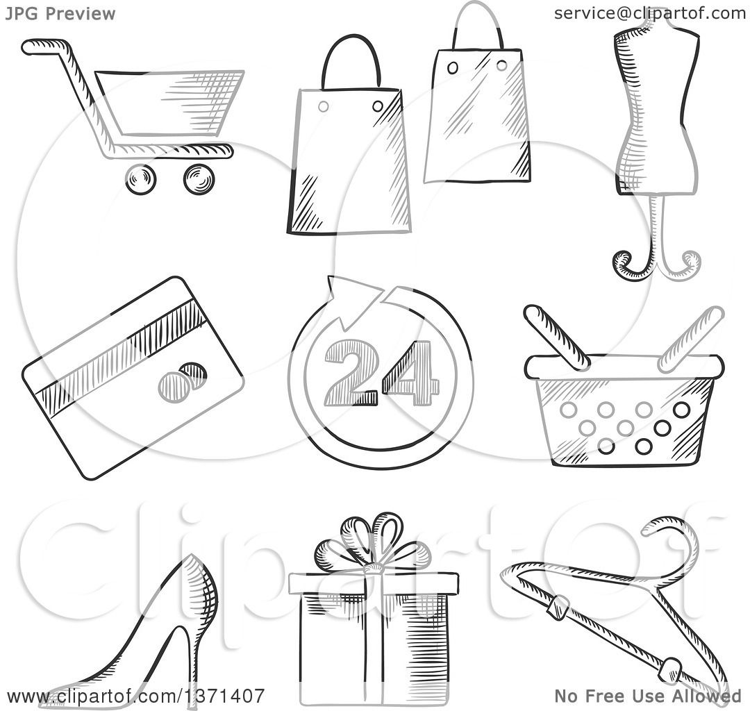 Clipart Of A Black And White Sketched Shopping Cart Bags