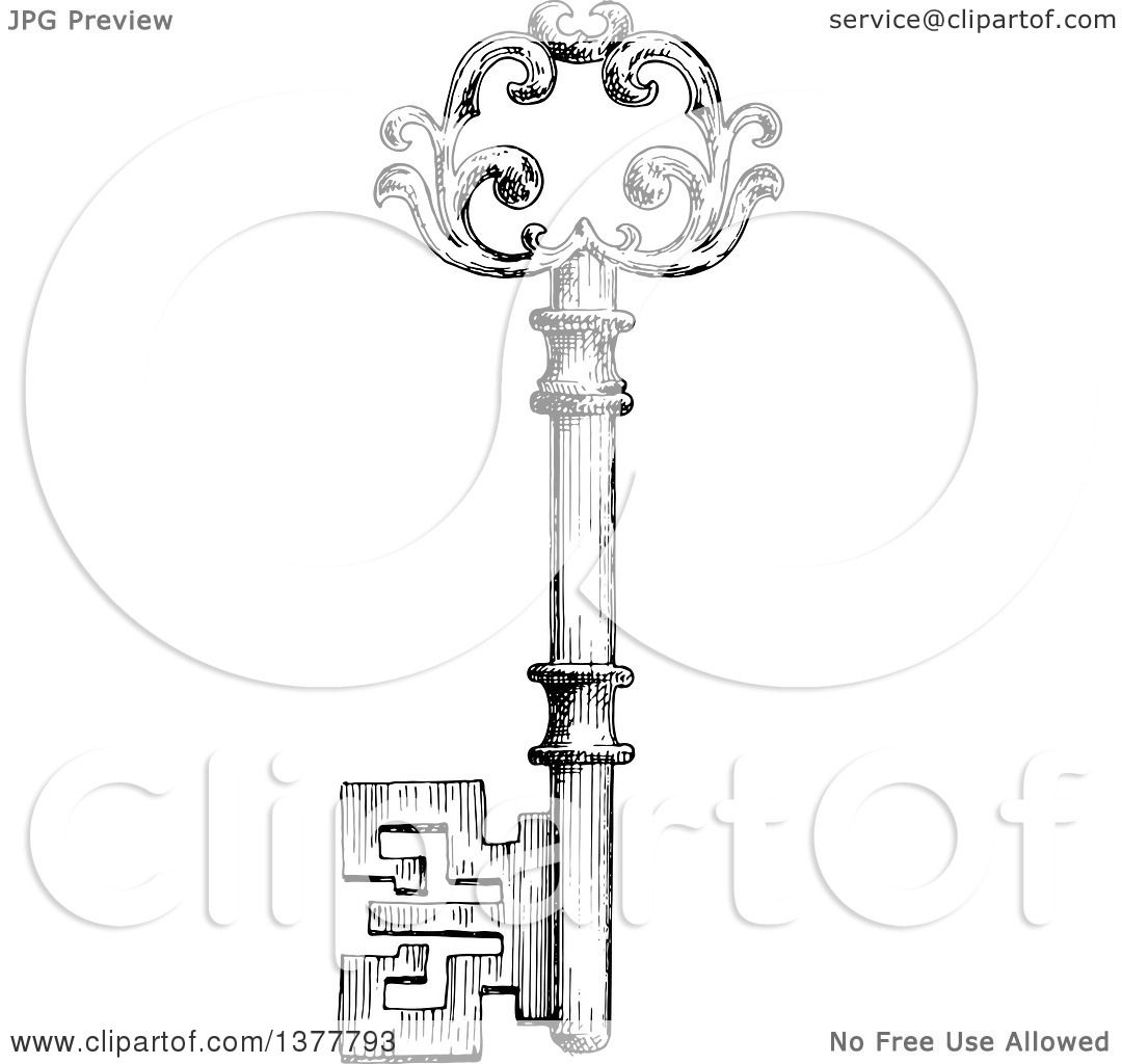 Clipart Of A Black And White Sketched Skeleton Key