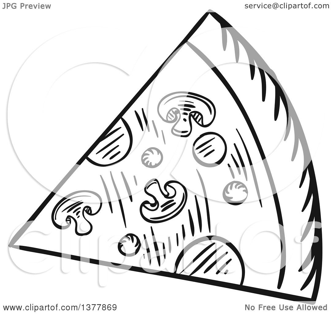 Clipart Of A Black And White Sketched Slice Of Pizza