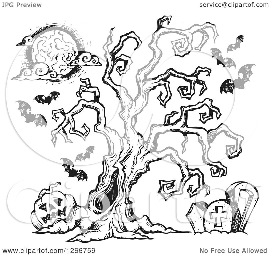 Clipart Of A Black And White Sketched Spooky Tree In A
