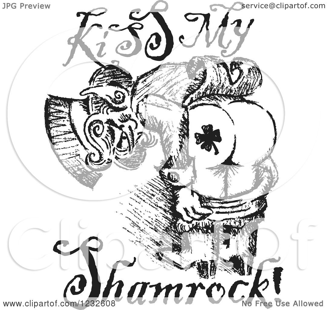 Clipart Of A Black And White Sketched St Patricks Day