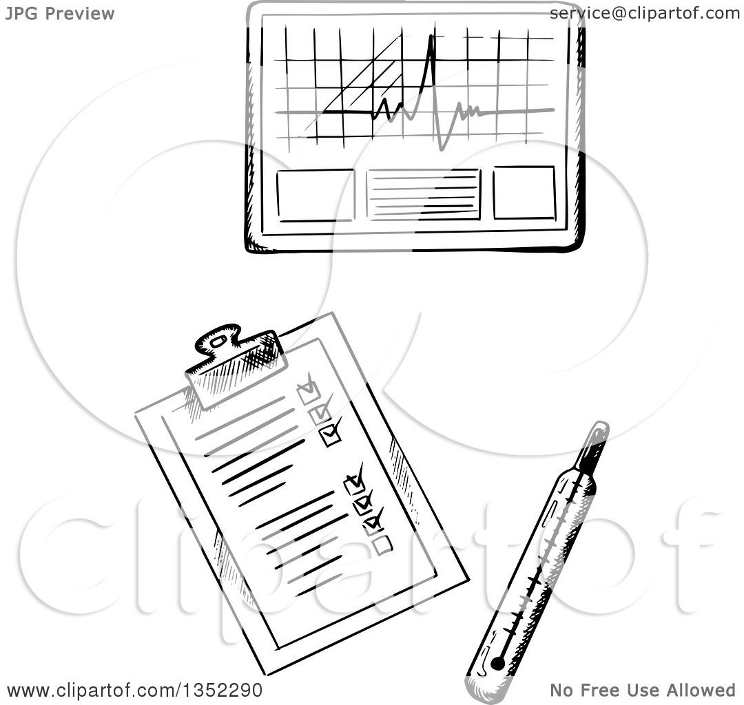 Clipart Of A Black And White Sketched Thermometer Medical