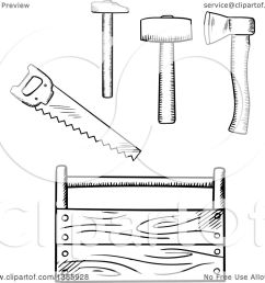 clipart of a black and white sketched tool box axe mallet and saw  [ 1080 x 1024 Pixel ]