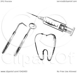 dental tools tooth syringe clipart vaccine sketched vector tradition sm
