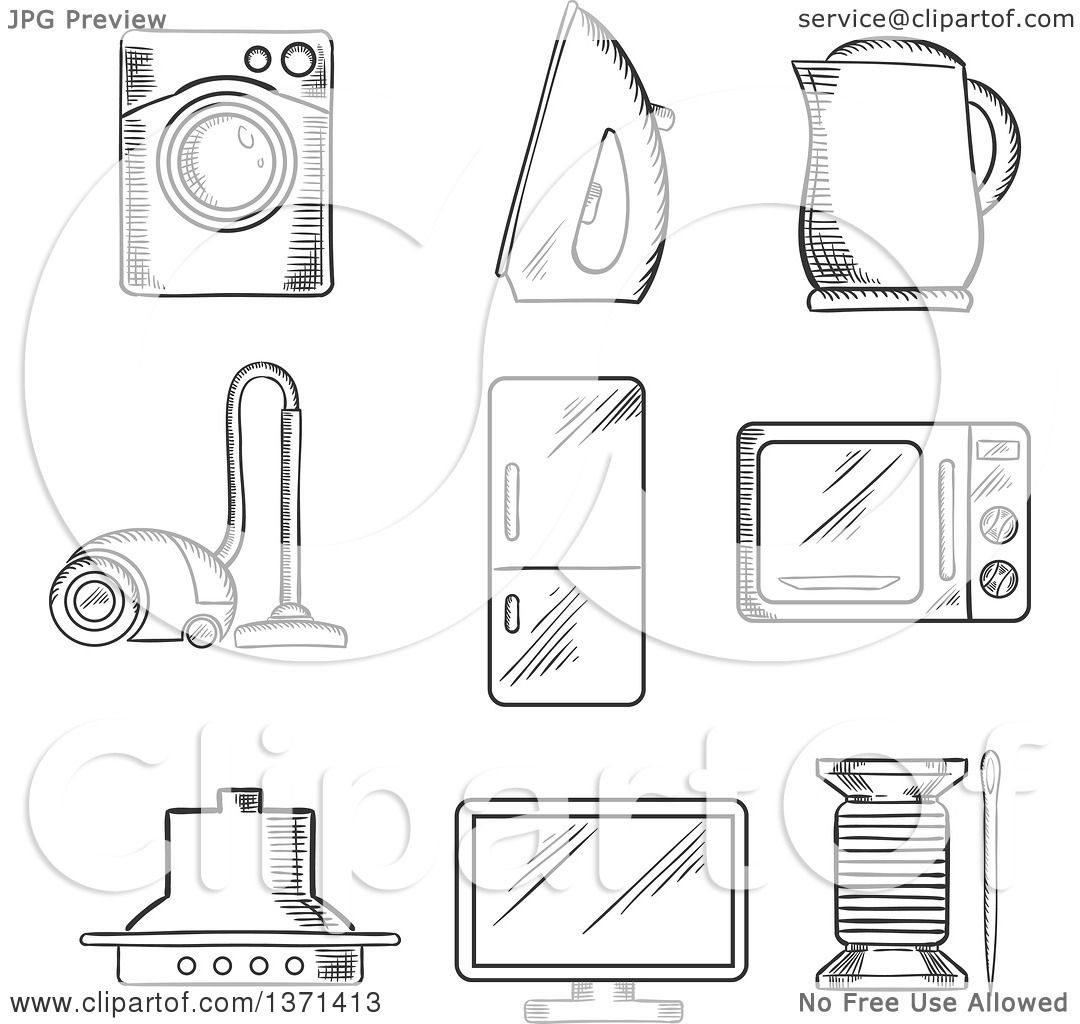 Clipart of a Black and White Sketched Vacuum Cleaner