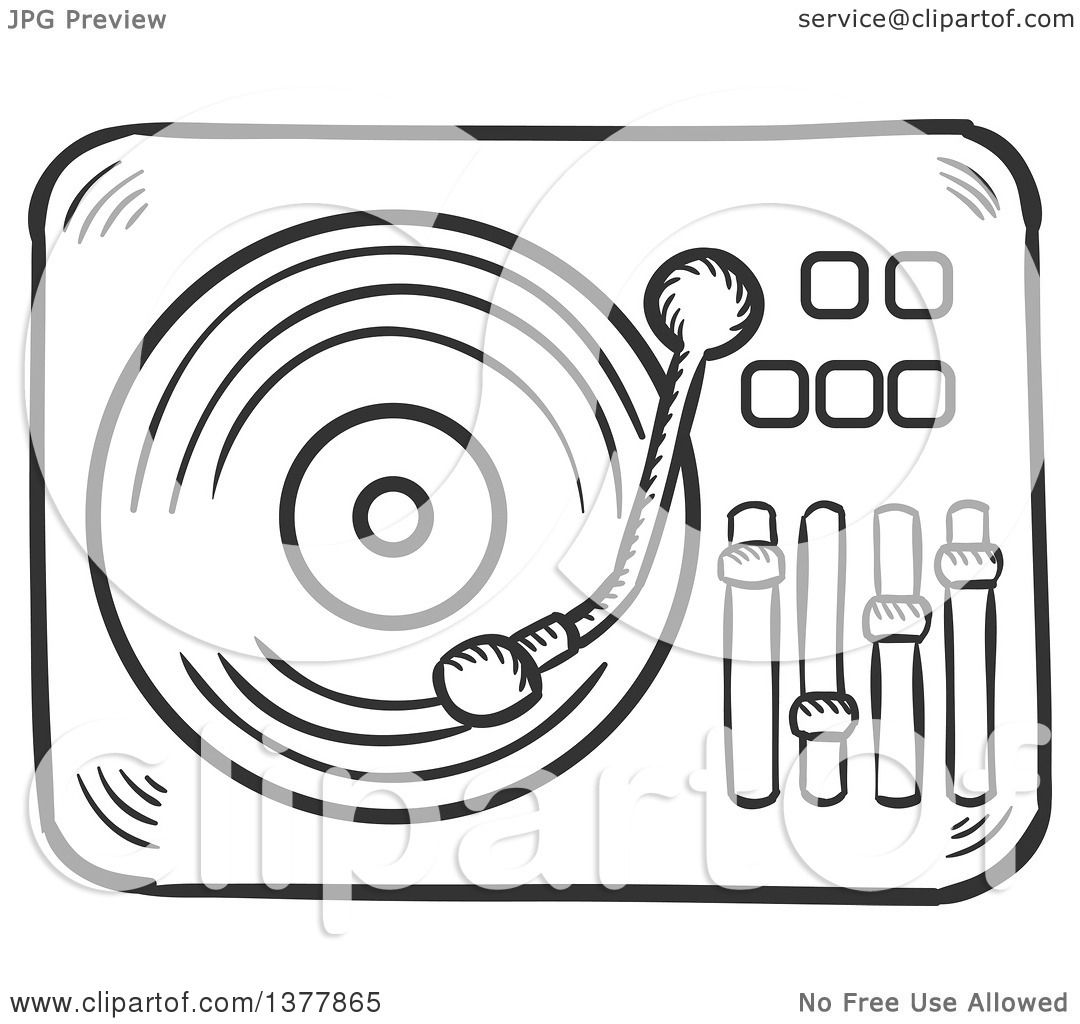 Clipart Of A Black And White Sketched Vinyl Record Player