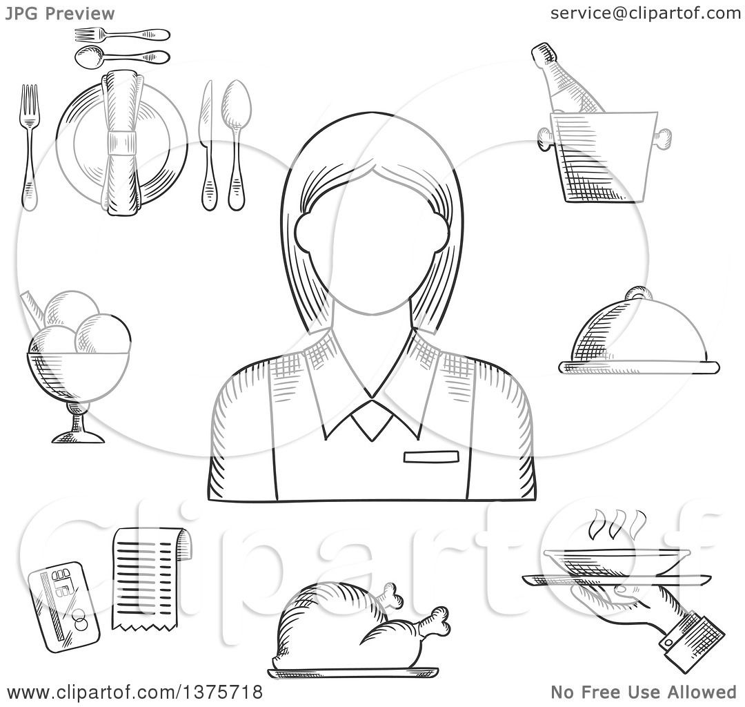 Clipart Of A Black And White Sketched Waitress In Elegant
