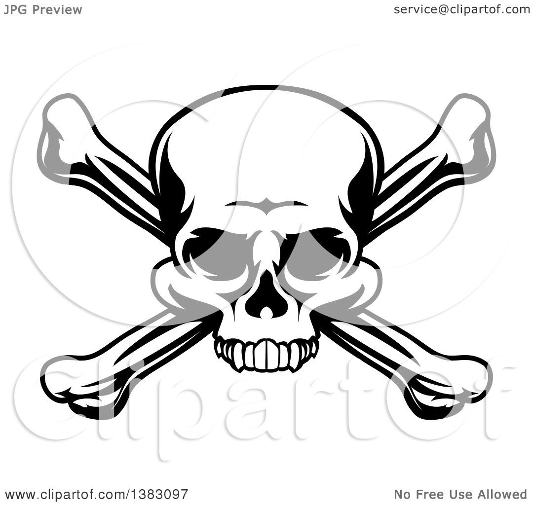 Clipart Of A Black And White Skull And Crossbones