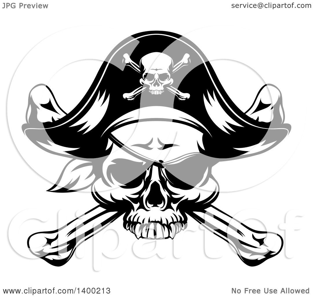 Clipart Of A Black And White Skull Wearing An Eye Patch
