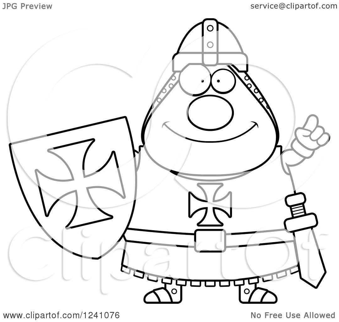 Clipart Of A Black And White Smart Chubby Knight Templar