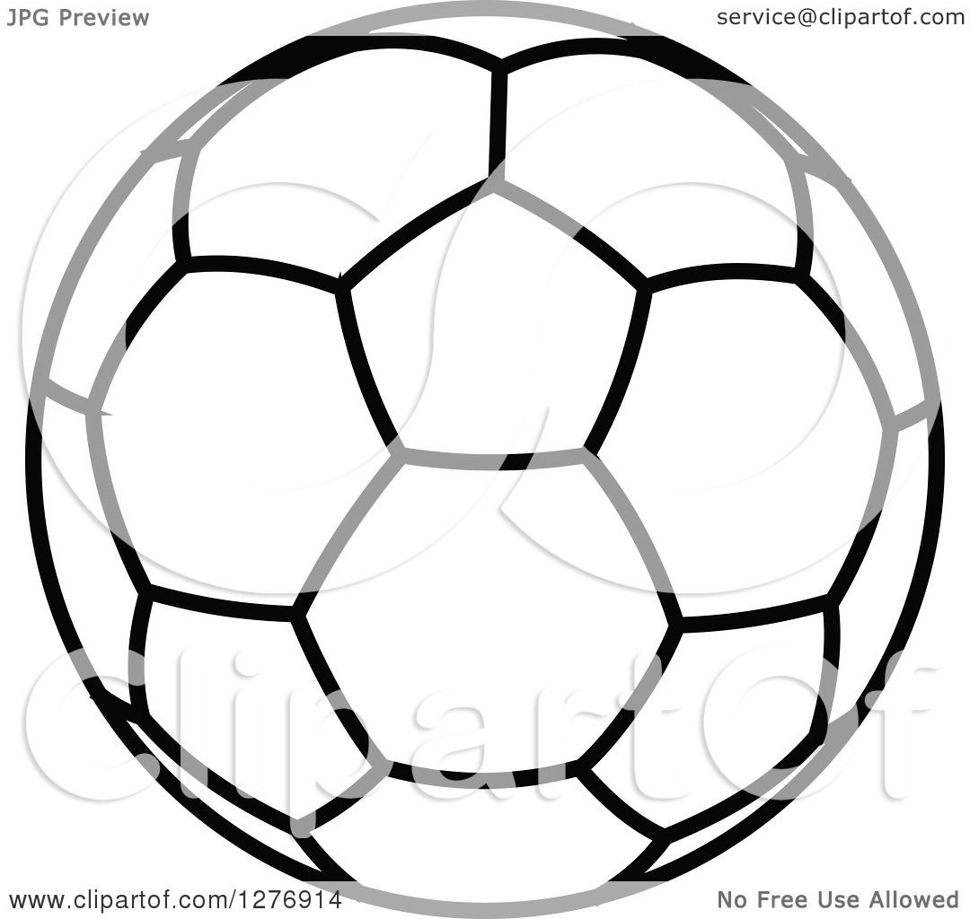 Clipart Of A Black And White Soccer Ball 4