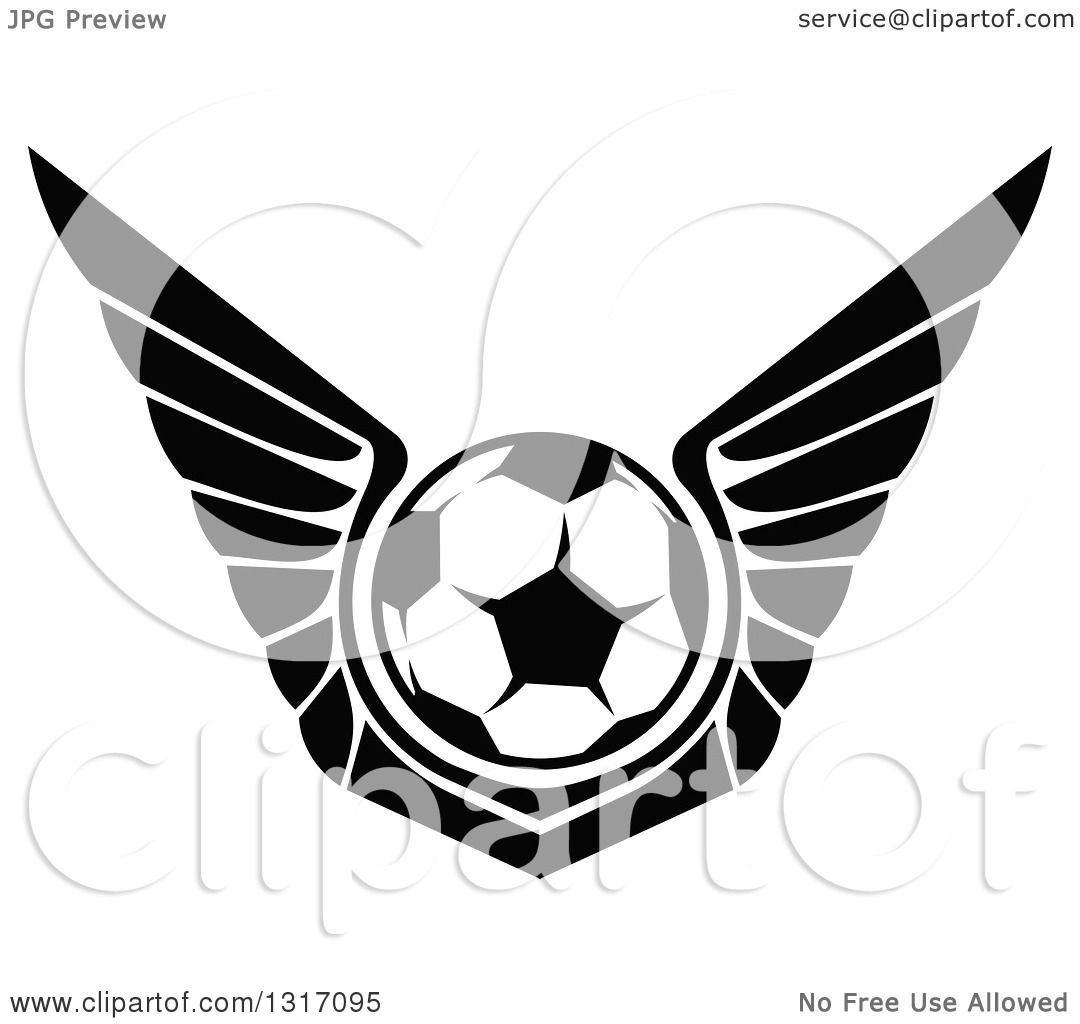 Clipart Of A Black And White Soccer Ball With Wings