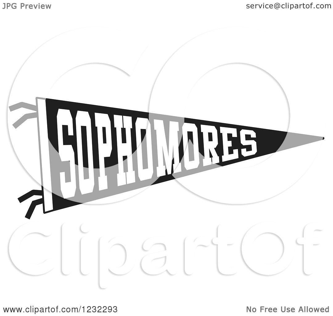 Clipart Of A Black And White Sophmores Team Pennant Flag