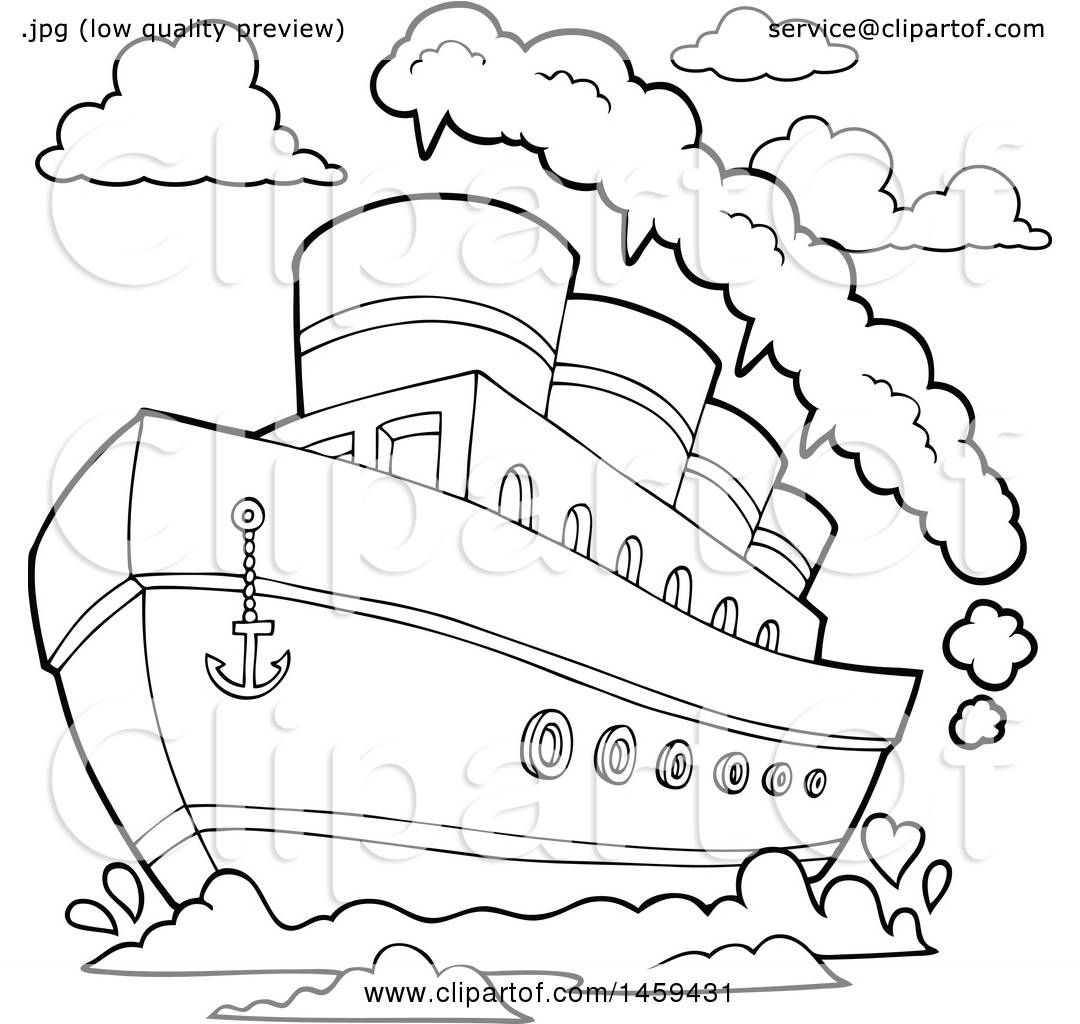 Clipart Of A Black And White Steam Ship
