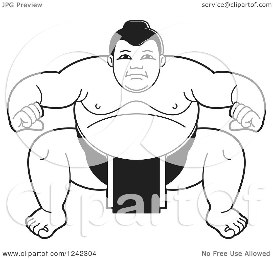 Clipart Of A Black And White Sumo Wrestler Crouching 3