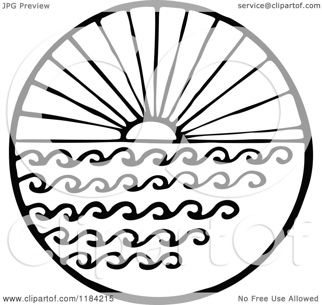 Clipart Of A Black And White Sun And Sea Circle