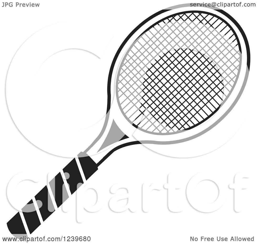 Clipart Of A Black And White Tennis Racquet