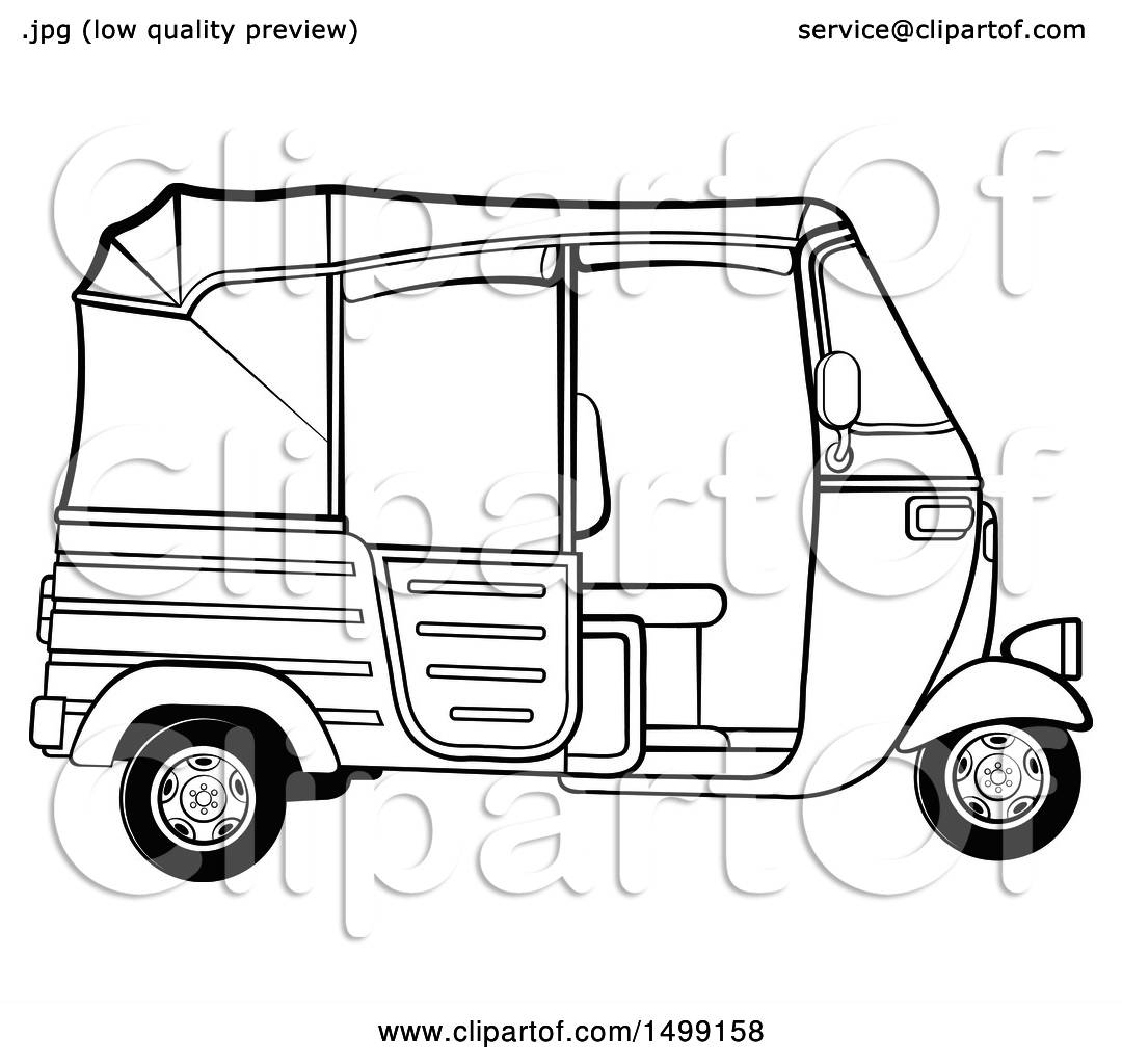 Clipart of a Black and White Three Wheeler Rickshaw