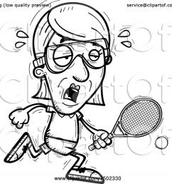 clipart of a black and white tired senior woman racquetball player royalty free vector illustration by cory thoman [ 1080 x 1024 Pixel ]