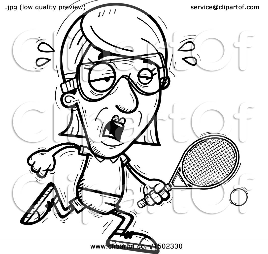 hight resolution of clipart of a black and white tired senior woman racquetball player royalty free vector illustration by cory thoman